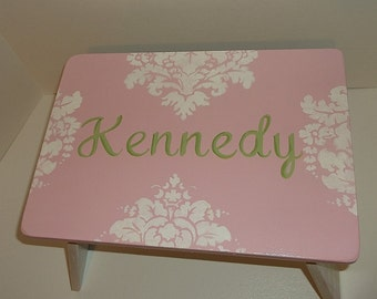 Damask, Kids Furniture Steps & Stools Pink and Green damask Kids Furniture Bathroom Step Stool Childs Home and Living
