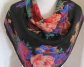 "Beautiful Black Floral Soft Silk Scarf // 31"" Inch 79cm Square // Best of the Best"