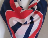 "Beautiful Red White Blue Ladies Silk Scarf  // 28"" Inch 71cm Square"