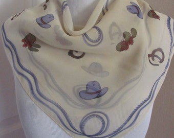 """Beautiful Off White Ivory Sheer Silk Scarf  // 20"""" Inch 51cm Square"""