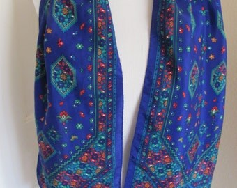 "Lovely Blue Floral Soft Silk Scarf // 11"" x 52"" Long"