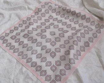"Beautiful Antique Small Silk Scarf Handkerchief // 16"" Inch 38cm Square (#39)"