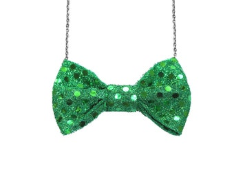 Green Sequin Bow Tie Necklace, Women Bowtie, Spring Shinny Bow Necklace, St Patrick's Day Party