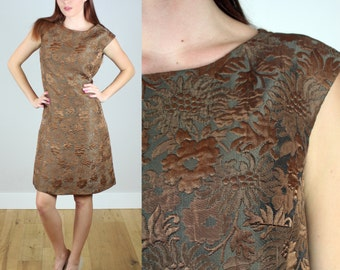 Vintage 1960s Brown Brocade Shift Dress
