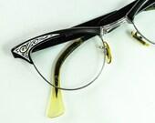 "American Optical Vintage Browline Glasses, ""Empress Gaymont"" , 1950s, 1960s"