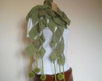 WOMEN SCARF / Accessories Scarves Hand Knitted Pompoms Elegant / Crochet Romantic Winter Feminine Warm Muffler Gift Ideas Handmade Chic