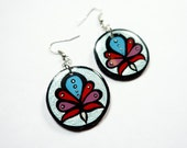 Modern, Small Turkish Flower Blossom Earrings in Metallic Sky Blue, Dusty Rose and Red