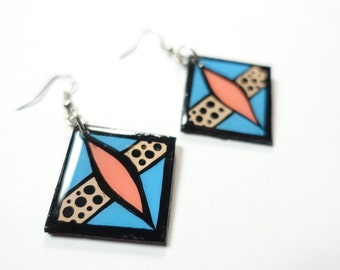 Small & Bold Diamond Hung Handpainted Modern Salmon and Turquoise Color-block Inspired Earrings