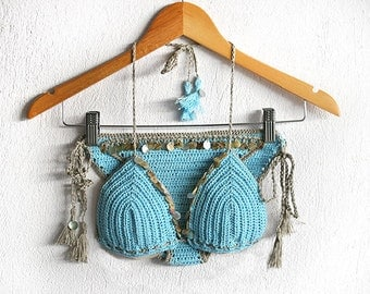 Crochet bikini in turquoise, Shell bathing suit, Crochet swimsuit, Crochet swimwear, Bikini top, Crochet bikini bottom, Brazilian bikini