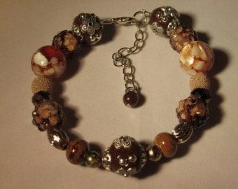 Beautiful Browns Beaded Bracelet