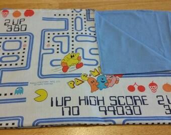 Vintage Pac-Man fabric baby blanket