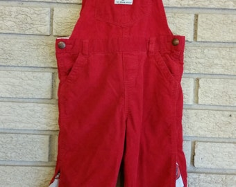 Red corduroy overalls with Grateful Dead fabric inserts (24m)