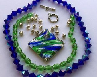 Blue and Green Lampwork Glass Pendant Full Strand Glass Bicones Beads a Plenty Kit