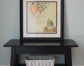 1933 Art Deco Original Painting - Girl - Cat - Parakeets - GI Walker - Great Frame and Matting