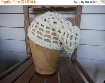 Ivory dread lock cap Open Weave Crochet Rasta Slouchy Head hair Braid Cap Hat Handmade Crochet homespun rustic folk islander tropical ethnic