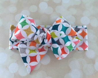 Multi Color Head Wrap in Cotton -  Bright Modern Head Wrap - Headband - Turban - Toddler Head Wrap - Newborn Photo Prop