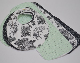 Boutique Bib & Burp Cloth Set - Mint Blossoms - New Baby Gift, BabyGirl, Baby Shower