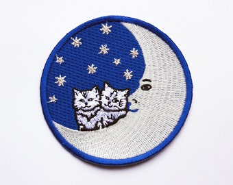Cats on the Moon Embroidered Patch - Badge - Moon -  Cat - Glow in the Dark - Cats - Kittens - Stars - Space  Moon  Man in the Moon