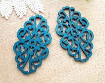 WP06 / #10 Deep Blue / Filigree Wood Lace Pairs for Earring / Cold Color Laser Cut  Lace Wooden Charm /Pendant /Colorful Wood Charm