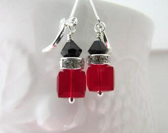 Swarovski Earrings, Siam Earrings, Black Earrings, Birthstone Earrings, Beaded Earrings, Custom Earrings, Dangle Earrings, Free US Shipping