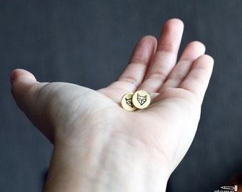 FOX stud earrings // cute round raw brass earrings // hand stamped jewelry