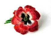 RED White  POPPY handfelted  brooch   hair pin  Flower Felt Pin Handmade OOAK Fiber Art Red Gift for her