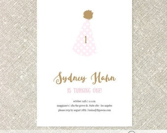 Birthday Party Hat Invitation | Pink and Gold Birthday Girl Polka Dot Invite  - Customized Printable File