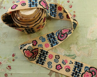 1 yard Antique French silk embroidered woven ribbon art deco millinery hat trim japonesque 1920 flapper hat pink blue sakura blossom