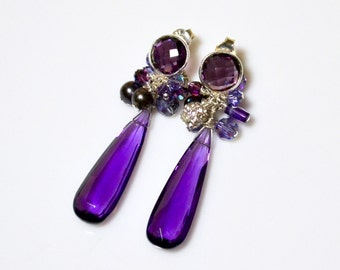 LP 1274 Stunning, Elongated Amethyst Gemstones, Sterling Silver Bezeled Amethyst, Freshwater Pearls  And Swarovski Crystals Drop Earrings