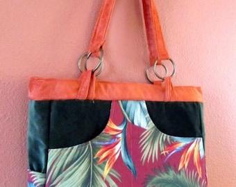 Bea #21  Tropical Print Medium Purse, Tropical,Beach Bag, Bags, Bag, Purses, Purse, Handbag, Handbags, Shoulder Bag,Shoulder Bag, Women,Gift