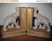 Incredible ANTIQUE Turn of the Century SHABBY CHIC  Chalk Ware Elephant Book Ends