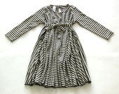 Dress for girls, Spinning dress, Black, White & Silver stripes