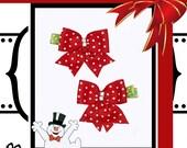 Girls Christmas Hair Clip - Ribbon Hair Clip - Christmas Bow Hair Clip - Holiday Hair Clip - Christmas Hair Bows -  No Slip Grip
