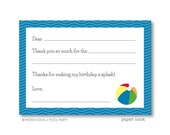 Pool Party PRINTABLE Fill-in-the-Blank Thank You Note