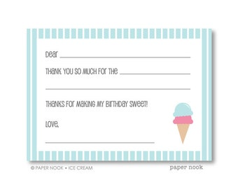 Ice Cream Party PRINTABLE Fill-in-the-Blank Thank You Note