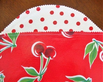 Red Cherries on Red with Red Dots Oilcloth Placemats