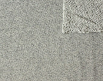 Warm Light Grey Heathered French Terry Knit Sweatshirt Fabric, 1 Yard
