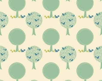 Mint Blue and Cream Tree and Bird Jersey Knit Fabric, Acorn Valley by Patti Young for Riley Blake Designs, Trees in Cream, 1 Yard