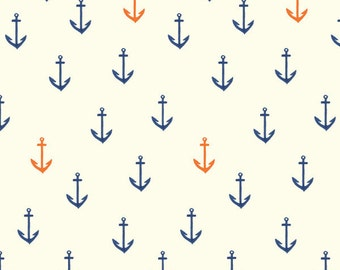 Blue Red and Cream Anchor Organic Cotton Interlock Knit, Saltwater by Emily Winfield Martin For Birch Fabrics, 1 Yard