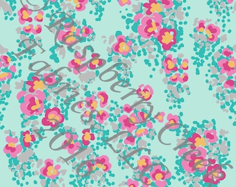 Aqua Yellow Pink and Grey Abstract Floral 4 Way Stretch FRENCH TERRY Knit Fabric, Club Fabrics