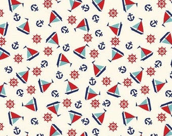 Red White and Blue Sailboat Cotton Fabric, Toy Chest By Penny Rose Design Studio for Riley Blake, Toy Chest Sailboats in Aqua Blue, 1 Yard