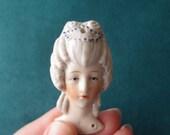 antique Germany Half Doll head Flat Back Marie Antoinette bas relief Porcelain pin cushion boudoir hanky doll #14140