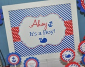 Nautical ITS A BOY Print - 8x10 Sign - Boys Baby Shower Decorations - Nautical Baby Shower Ahoy Its A Boy - Whales and Anchors