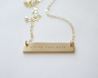 I Love You More Double Sided THICK Gold Fill Bar Hand Stamped Necklace - Hidden Message - Personalized - Custom Names Betsy Farmer Designs