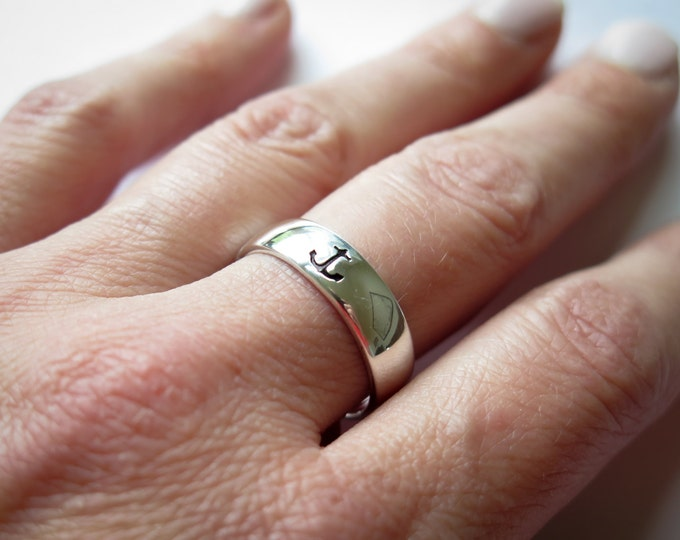 Anchor Ring - Sterling Silver - Hand Stamped by Betsy Farmer Designs - Simple - Nautical - Minimal