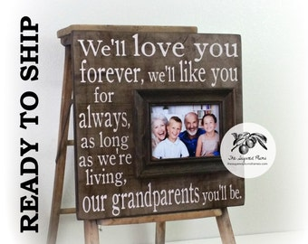 Personalized Grandparents Picture Frame, Love You Forever, Grandma, Grandpa, READY TO SHIP 16x16 The Sugared Plums Frames