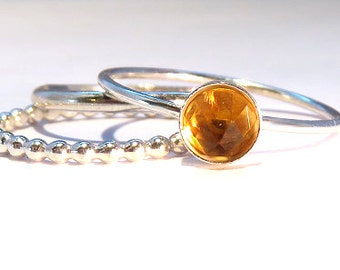 Citrine rings, Citrine Stacking Set, Silver Citrine rings, November birthstone rings, November rings, silver stacking rings, silver stack