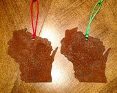 Handmade Wisconsin Christmas Ornaments - Rusted Steel Finish