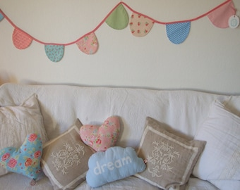 Shabby Chic Bunting, Pastel Pink Aqua Green Floral Gingham Polka Dots, Home Decor, Playroom, Nursery, Girl, Bedroom, Wedding, Party, Garden
