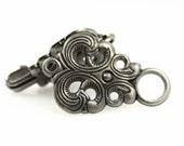 HOOK And EYE Fasteners - Baroque Swirl Cloak Clasp Gunmetal Fasteners. 5 Pairs.